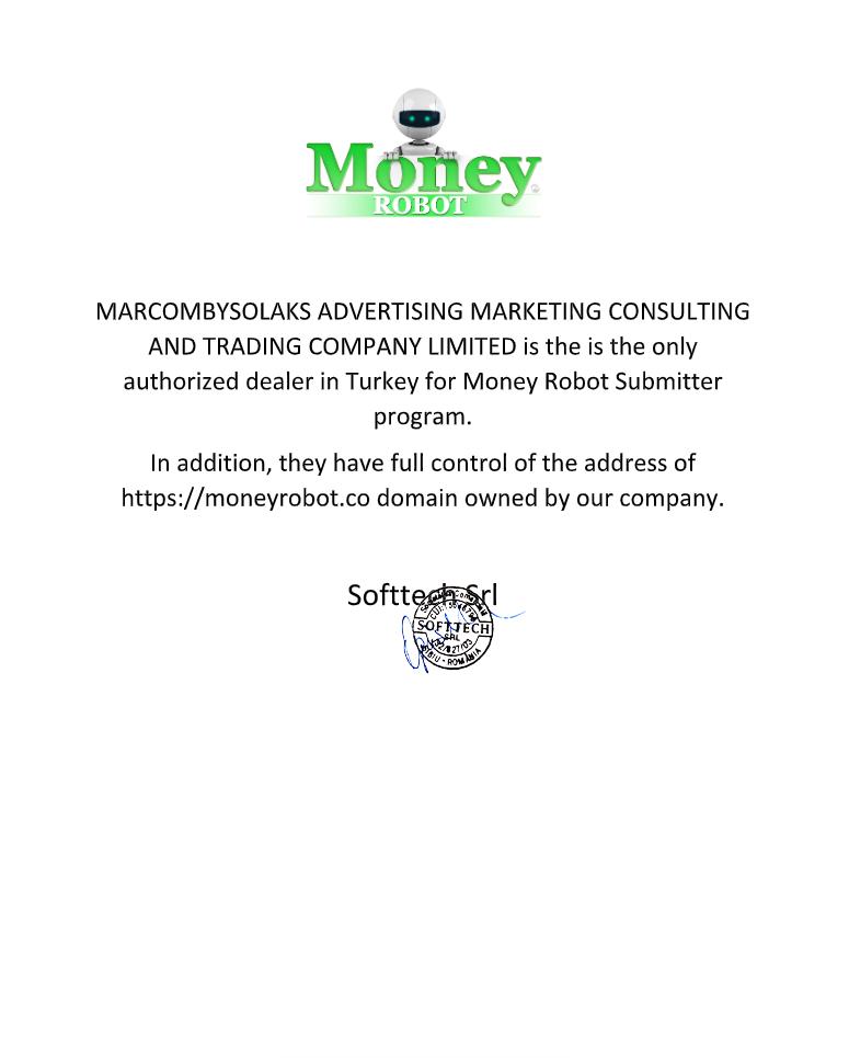 Money Robot Submitter yetki belgesi